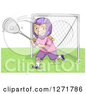 Clipart Of A Blond White Lacrosse Player Goalie Girl In Action Royalty Free Vector Illustration