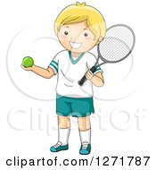 Clipart Of A Happy Blond White Tennis Player Boy Royalty Free Vector Illustration