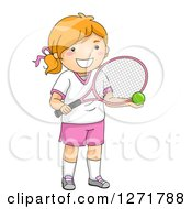 Red Haired White Tennis Player Girl Holding A Ball And Racket