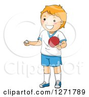 Clipart Of A Red Haired White Table Tennis Ping Pong Player Boy Royalty Free Vector Illustration by BNP Design Studio