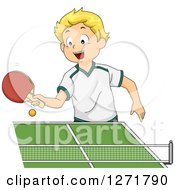 Clipart Of A Happy Blond White Boy Playing Table Tennis Royalty Free Vector Illustration by BNP Design Studio