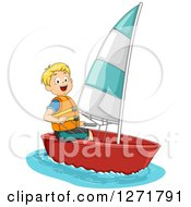 Clipart Of A Blond Caucasian Boy Sailing A Boat Royalty Free Vector Illustration