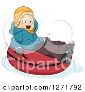 Clipart Of A Happy Caucasian Boy Snow Tubing Royalty Free Vector Illustration