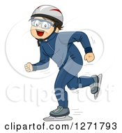 Clipart Of A Happy Brunette Caucasian Boy Speed Skating Royalty Free Vector Illustration by BNP Design Studio