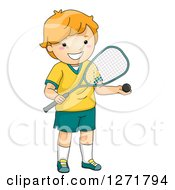 Clipart Of A Happy Red Haired White Squash Player Boy Royalty Free Vector Illustration