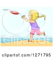 Clipart Of A Playful Blond White Girl Catching A Frisbee On A Beach Royalty Free Vector Illustration by BNP Design Studio