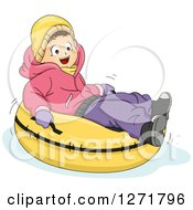 Clipart Of A Happy Brunette Caucasian Girl Snow Tubing Royalty Free Vector Illustration