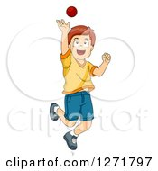 Clipart Of A Brunette White Boy Catching A Cricket Ball Royalty Free Vector Illustration