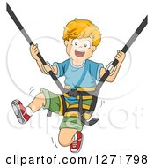 Clipart Of A Happy White Boy Bungee Jumping Royalty Free Vector Illustration