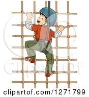 Clipart Of A Brunette White Boy Climbing A Net Wall And Looking Back Royalty Free Vector Illustration
