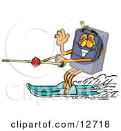 Suitcase Cartoon Character Waving While Water Skiing
