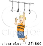 Clipart Of A Blond White Boy On A Ring Obstacle Course Royalty Free Vector Illustration by BNP Design Studio