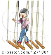 Clipart Of A Happy White Boy In A Safety Harness Crossing A Suspended Bamboo Bridge Royalty Free Vector Illustration