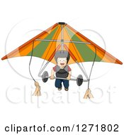 Clipart Of Hands Guiding A Brunette Caucasian Boy On A Hang Glider Royalty Free Vector Illustration by BNP Design Studio