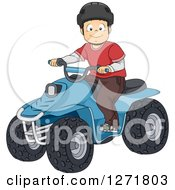 Clipart Of A Happy Brunette White Boy Riding An ATV Quad Royalty Free Vector Illustration by BNP Design Studio
