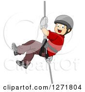 Clipart Of A Happy Brunette White Boy Rapelling Down An Invisible Wall Royalty Free Vector Illustration