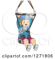 Clipart Of A Happy Blond White Boy Ziplining Royalty Free Vector Illustration