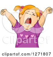 Clipart Of A Tired Red Haired White Girl Stretching And Yawning Royalty Free Vector Illustration