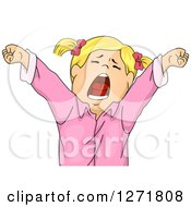 Clipart Of A Tired Blond White Girl Stretching And Yawning Royalty Free Vector Illustration by BNP Design Studio