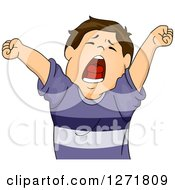 Clipart Of A Tired Brunette White Boy Stretching And Yawning Royalty Free Vector Illustration