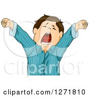 Clipart Of A Tired Brunette White Boy Stretching And Yawning In Pjs Royalty Free Vector Illustration