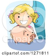 Clipart Of A Happy Blond White Girl With A Piggy Bank Royalty Free Vector Illustration by BNP Design Studio