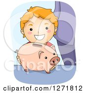 Clipart Of A Happy Red Haired White Boy With A Piggy Bank Royalty Free Vector Illustration by BNP Design Studio