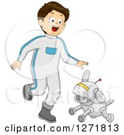 Clipart Of A Futuristic Happy Brunette Caucasian Boy Walking With A Robot Dog Royalty Free Vector Illustration by BNP Design Studio
