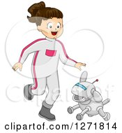 Clipart Of A Happy Brunette Futuristic White Girl Playing With A Robot Dog Royalty Free Vector Illustration