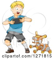 Clipart Of A Happy Blond White Boy Controlling A Robot Dog Royalty Free Vector Illustration