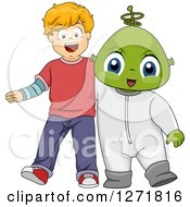 Clipart Of A Happy Blond Caucasian Boy With An Alien Friend Royalty Free Vector Illustration by BNP Design Studio