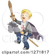 Clipart Of A Happy Blond Caucasian Boy Knight Riding A Stick Pony Royalty Free Vector Illustration