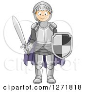 Clipart Of A Happy Red Haired Caucasian Boy In A Knight Costume Royalty Free Vector Illustration