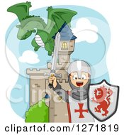 Clipart Of A Dragon Flying Over A Cheering Caucasian Knight Boy And A Castle Royalty Free Vector Illustration by BNP Design Studio