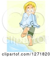 Clipart Of A Shivering Blond Caucasian Boy On A Beach Royalty Free Vector Illustration
