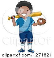 Clipart Of A Happy Black Boy Smiling With A Baseball And Glove In Hand And A Bat On His Shoulder Royalty Free Vector Illustration by BNP Design Studio
