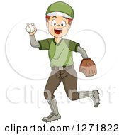 Clipart Of A Happy White Boy Pitching A Baseball Royalty Free Vector Illustration by BNP Design Studio