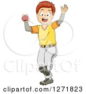 Clipart Of A Happy Brunette White Cricket Bowler Boy Royalty Free Vector Illustration