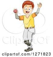 Happy Brunette White Cricket Bowler Boy