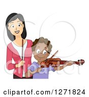 Clipart Of A Happy Asian Female Music Teacher And A Black Male Student Playing A Violin Royalty Free Vector Illustration by BNP Design Studio