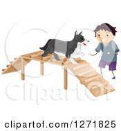 Brunette Stick Boy Cheering On His Dog On An Agility Ramp Course