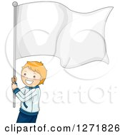 Clipart Of A Red Haired White Boy Athlete With A Blank White Flag Royalty Free Vector Illustration
