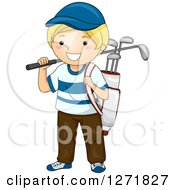 Clipart Of A Happy Blond White Boy With A Golf Bag Royalty Free Vector Illustration