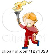 Clipart Of A Happy Sporty Red Haired White Boy Bearing A Torch Royalty Free Vector Illustration by BNP Design Studio