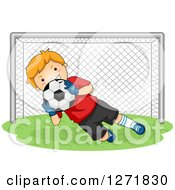 Clipart Of A Red Haired White Soccer Player Goalie Blocking A Ball Royalty Free Vector Illustration