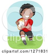Clipart Of A Happy Black Boy Playing Rugby Royalty Free Vector Illustration