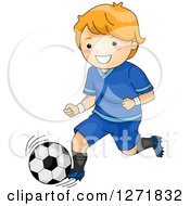 Clipart Of A Red Haired White Boy Kicking A Soccer Ball Royalty Free Vector Illustration by BNP Design Studio