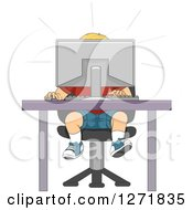 Clipart Of A Shocked Blond White Boy Behind A Desktop Computer Royalty Free Vector Illustration