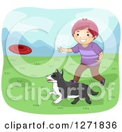 Clipart Of A Purple Haired White Boy Throwing A Frisbee For His Dog Royalty Free Vector Illustration by BNP Design Studio