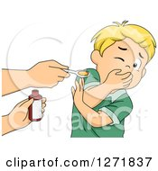 Clipart Of A Blond White Boy Refusing To Take Medicine Royalty Free Vector Illustration